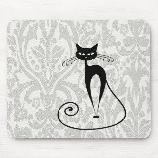 Elegant  black cat damask mouse pads