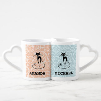Elegant black cat damask vintage /add name lovers mug