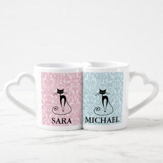Elegant black cat damask vintage add name couple mugs