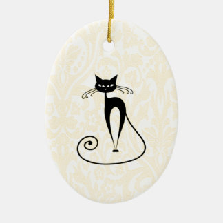 Elegant black cat damask vintage christmas ornament