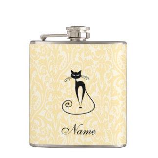 Elegant black cat damask vintage custome name hip flask