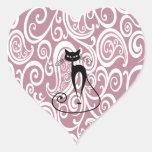 Elegant black cat gentle floral pattern stickers