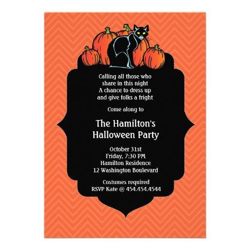 Elegant Black Cat Halloween Party Invitation