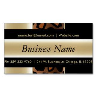 Elegant Black & Champagne Leopard Stripes Magnetic Business Cards