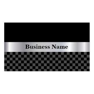 Elegant Black Checkered Square Silver Metal Label Pack Of Standard Business Cards