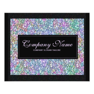Elegant Black Colorful Purple Glitter & Sparkles 2 11.5 Cm X 14 Cm Flyer