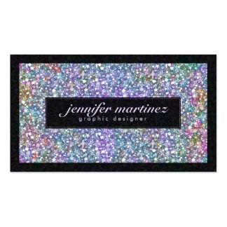 Elegant Black & Colorful Purple Glitter & Sparkles Pack Of Standard Business Cards