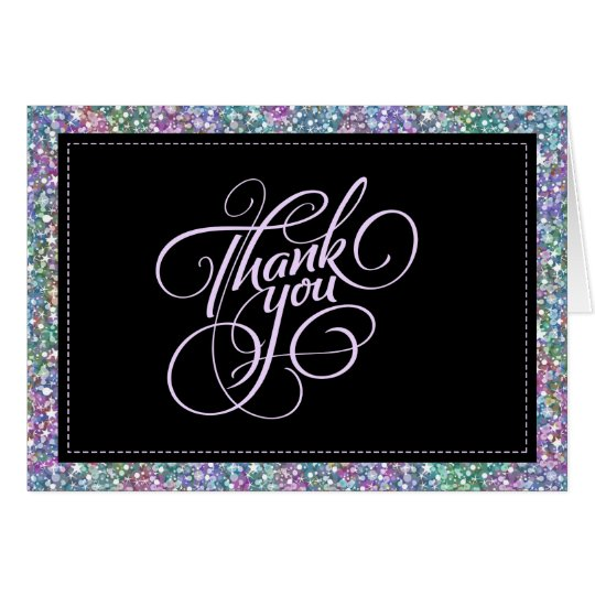 Elegant Black Colourful Purple Glitter & Sparkles Card