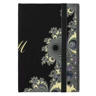 Elegant Black Cream Fractal Monogram Covers For iPad Mini