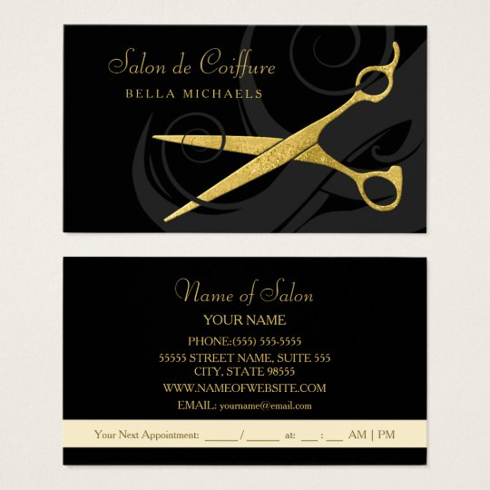 Elegant Black Curls Faux Gold Scissors Hair Salon