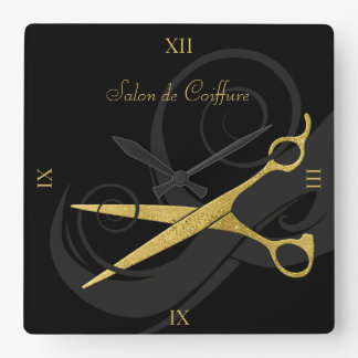 Elegant Black Curls Faux Gold Scissors Hair Salon Wall Clocks