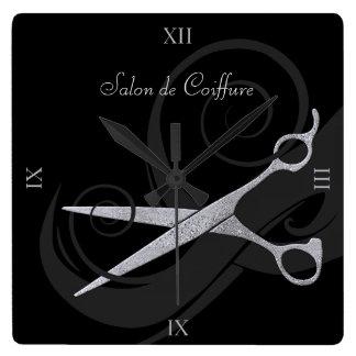Elegant Black Curls Silver Scissors Hair Salon Wall Clocks
