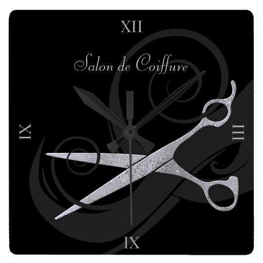 Elegant Black Curls Silver Scissors Hair Salon Wall