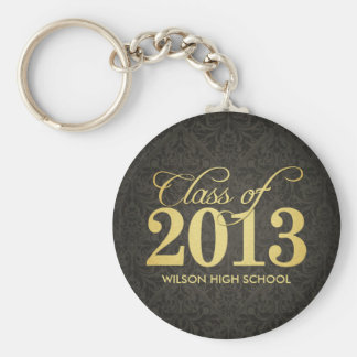 Elegant Black Damask and Gold Class of 2013 Basic Round Button Key Ring