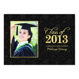 Elegant Black Damask and Gold Class of 2013 Card