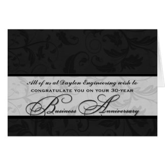 Elegant Black Damask Business Anniversary Card