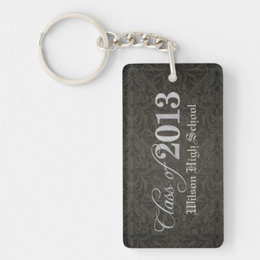 Elegant Black Damask Class of 2013 Graduation Rectangle Acrylic Keychains