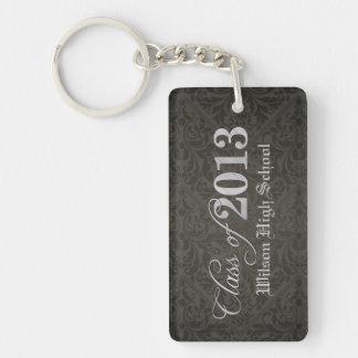 Elegant Black Damask Class of 2013 Graduation Single-Sided Rectangular Acrylic Key Ring