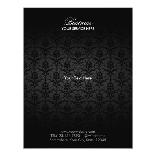 Elegant Black Damask Hair & Beauty Salon Brochures