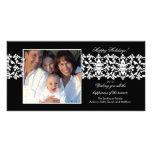 Elegant Black Damask Lace Christmas Photo Card