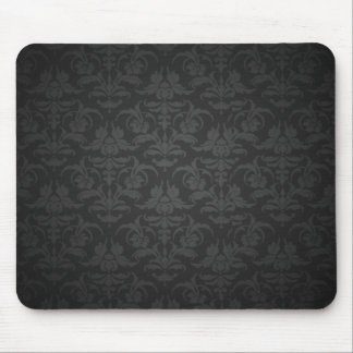 Elegant Black Damask Mouse Mat