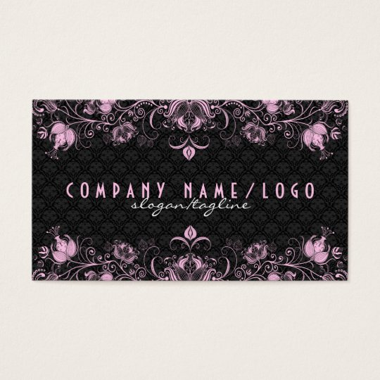 Elegant Black Damask & Pastel Pink Floral Swirls 2 Business Card