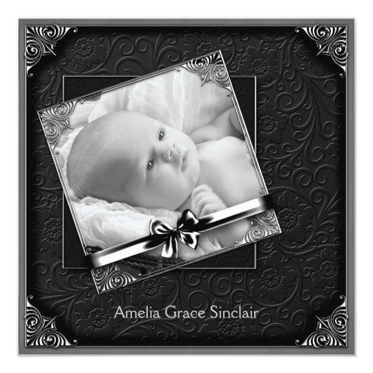 Elegant Black Damask Photo Birth Announcement