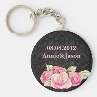 Elegant Black Damask Pink Floral Wedding Favor Basic Round Button Key Ring