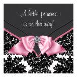 Elegant Black Damask Princess Baby Shower Personalised Invitations
