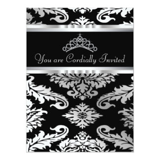 Elegant Black Damask Quinceanera Card