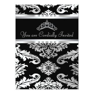 """Elegant Black Damask Quinceanera 6.5"""" X 8.75"""" Invitation Card"""