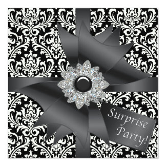 "Elegant Black Damask Surprise Birthday Party 5.25"" Square Invitation Card"