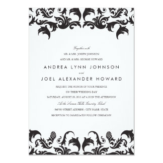 Elegant Black Damask Wedding Invitation