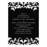 Elegant Black Damask Wedding Invitation