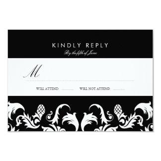 Elegant Black Damask Wedding RSVP 9 Cm X 13 Cm Invitation Card