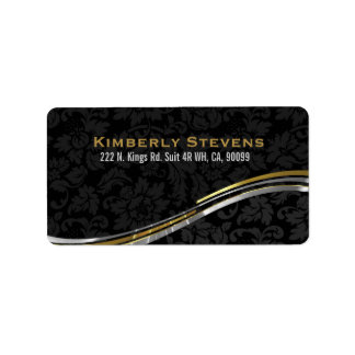 Elegant Black Damasks Gold And Silver Accents 2 Address Label