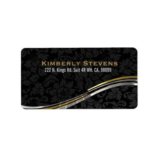 Elegant Black Damasks Gold And Silver Accents 2 Address Label