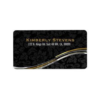 Elegant Black Damasks Gold And Silver Accents 2 Label
