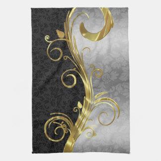 Elegant Black Damasks Gold & Silver Swirls Tea Towel