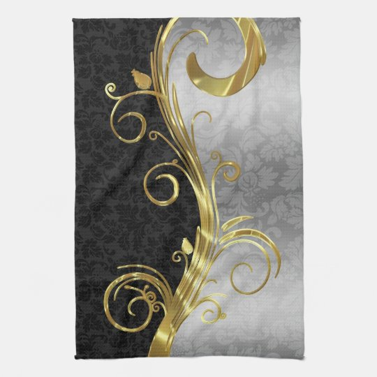 Elegant Black Damasks Gold & Silver Swirls Tea