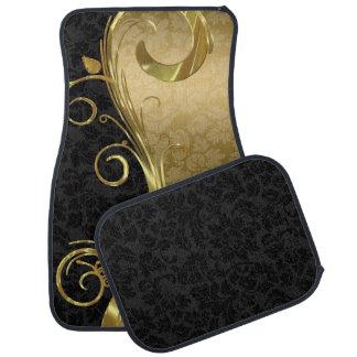 Elegant Black Damasks Gold Swirls Floor Mat