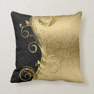 Elegant Black Damasks Gold Swirls Cushion