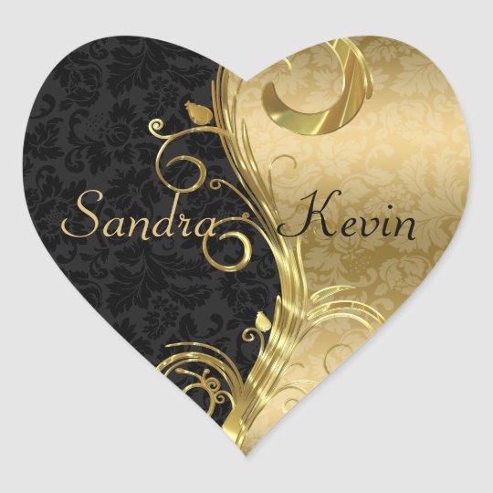 Elegant Black Damasks Gold Swirls Heart Sticker