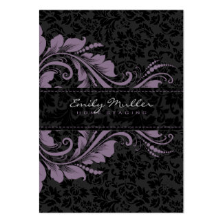 Elegant Black Damasks & Purple Floral Ornament Pack Of Chubby Business Cards