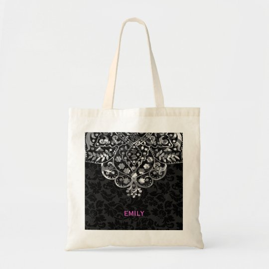Elegant Black Damasks Silver Metallic Vintage Lace Tote