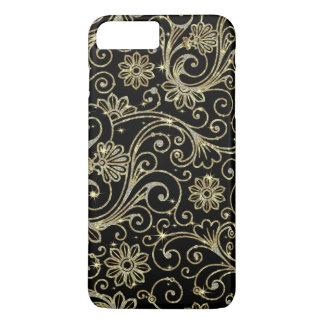 Elegant Black Diamonds Sparkles And Gold Swirls iPhone 8 Plus/7 Plus Case