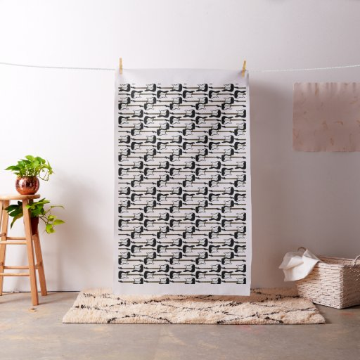 Elegant Black Electric Guitar Print Fabric