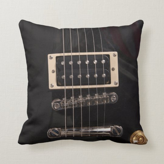 Elegant Black Electric Guitar Strings Throw Pillow