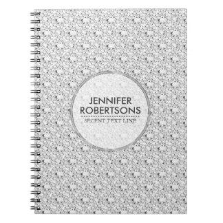 Elegant Black & Encrusted White Diamonds Glitter 2 Notebook