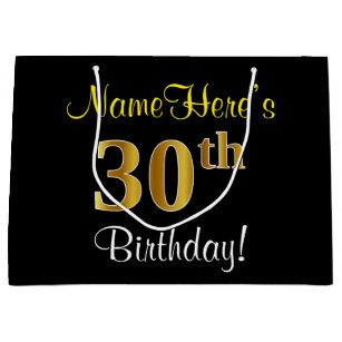 Elegant Black Faux Gold 30th Birthday Name Large Gift Bag
